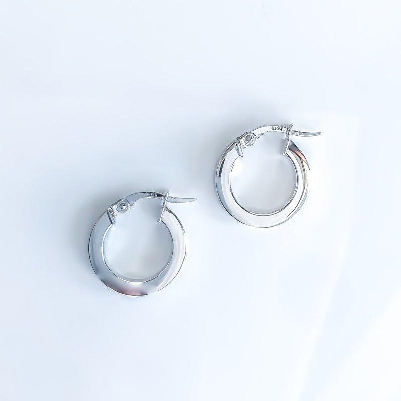 Tecimer & Johns White Gold Hoop Earrings (15mm)
