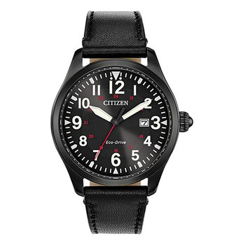 Eco-Drive Watch Black Leather