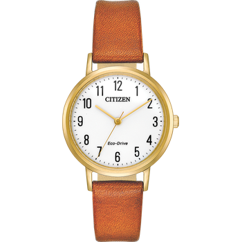 Eco-Drive Watch Light Brown Leather