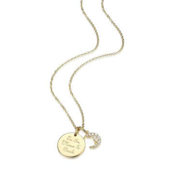 "Yellow Gold Plated Necklace ""To The Moon & Back"""