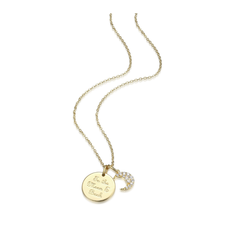 "Reign Yellow Gold Plated Necklace ""To The Moon & Back"""