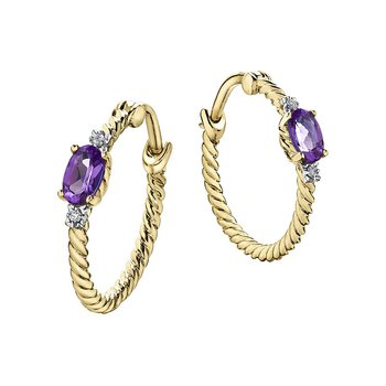 Amethyst Birthstone Hoop Earrings