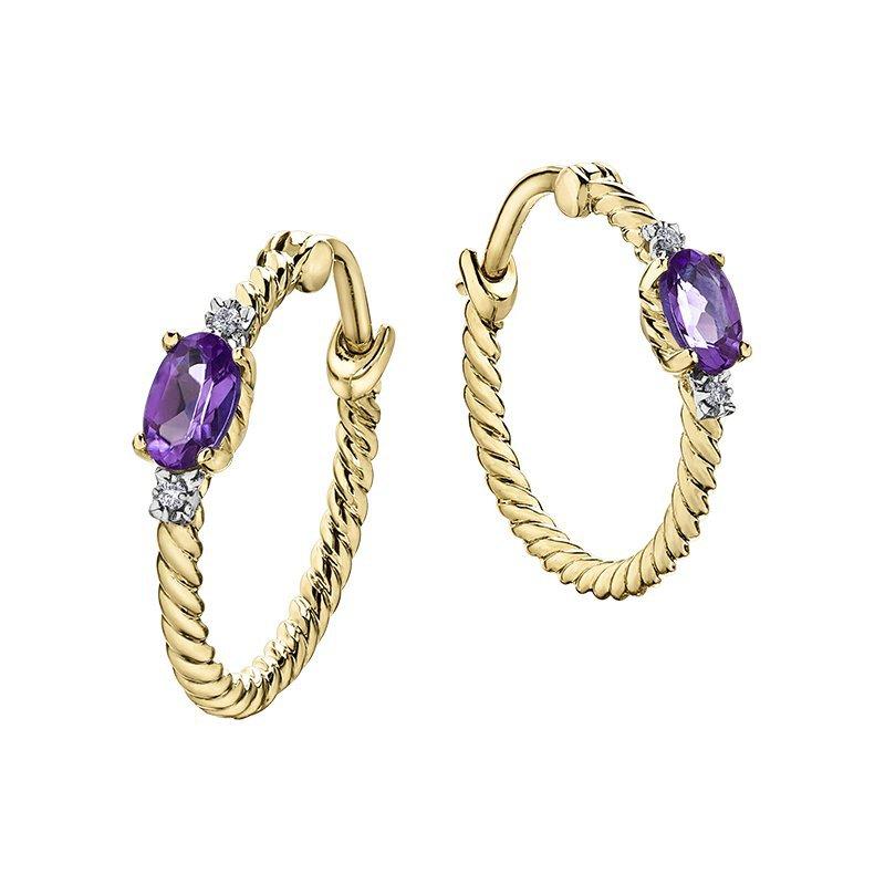 Corona Amethyst Birthstone Hoop Earrings
