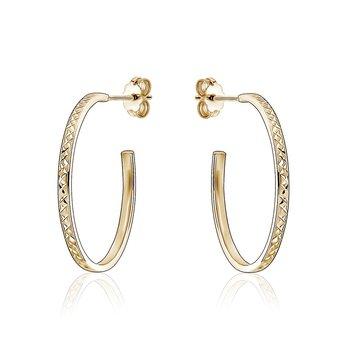 Patterned Gold Hoop Earrings