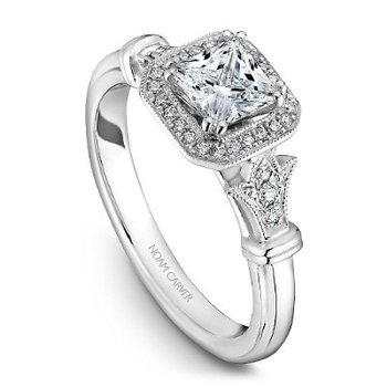 0.33CT Princess Cut Halo Engagement Ring