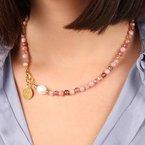 Etrusca Gioielli Strawberry Quartz & Pearl Necklace