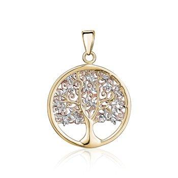 Tri-Tone Gold Tree of Life Pendant