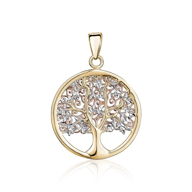Tecimer & Johns Tri-Tone Gold Tree of Life Pendant