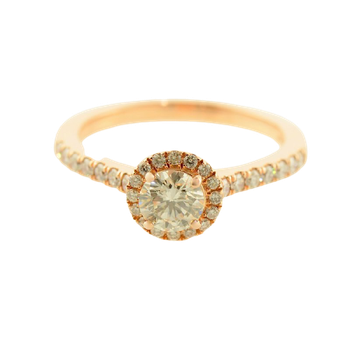0.48CT Rose Gold Halo Engagement Ring