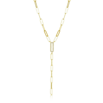 Gold Plated Paperclip Lariat Necklace