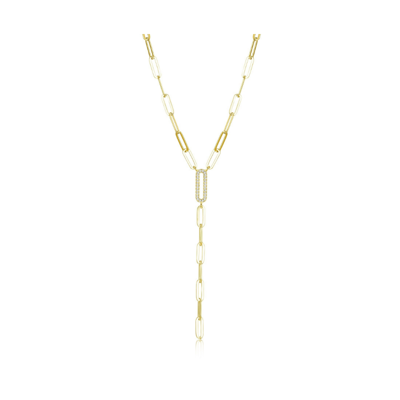 Reign Gold Plated Paperclip Lariat Necklace