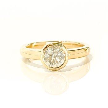 0.93CT Bezel Set Canadian Diamond Engagement Ring
