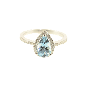 Pear Shaped Aquamarine Diamond Halo Ring