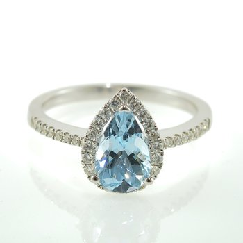 Pear Shaped Aquamarine Diamond Halo Ring