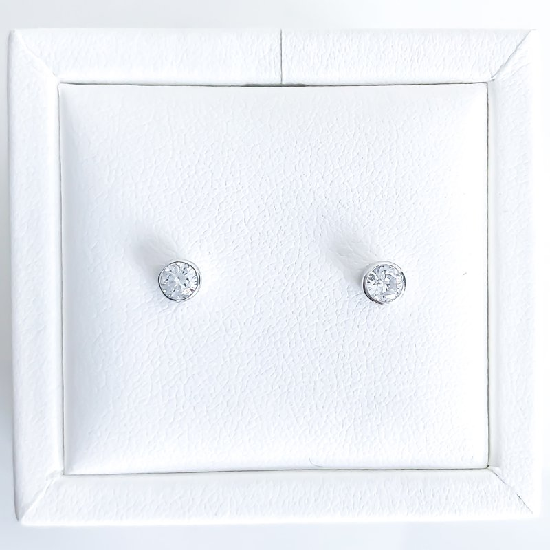 925 Solutions Bezel Set Cubic Zirconia Stud Earrings (6mm & 4mm)