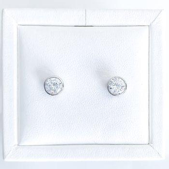 Bezel Set Cubic Zirconia Stud Earrings (6mm & 4mm)