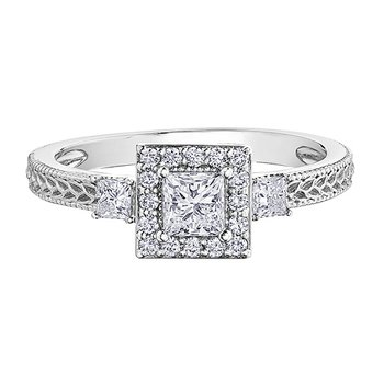 Canadian Princess Cut Diamond Halo Engagement Ring