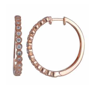 Rose Gold Plated Cubic Zirconia Hoop Earrings