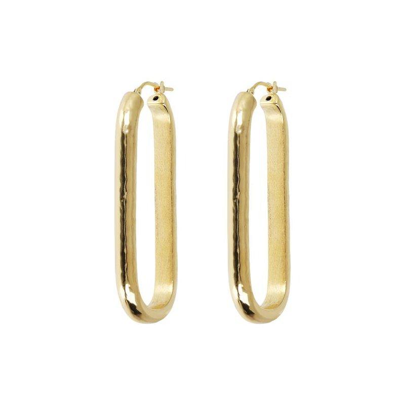 Etrusca Gioielli Elongated Rectangular Hoop Earrings