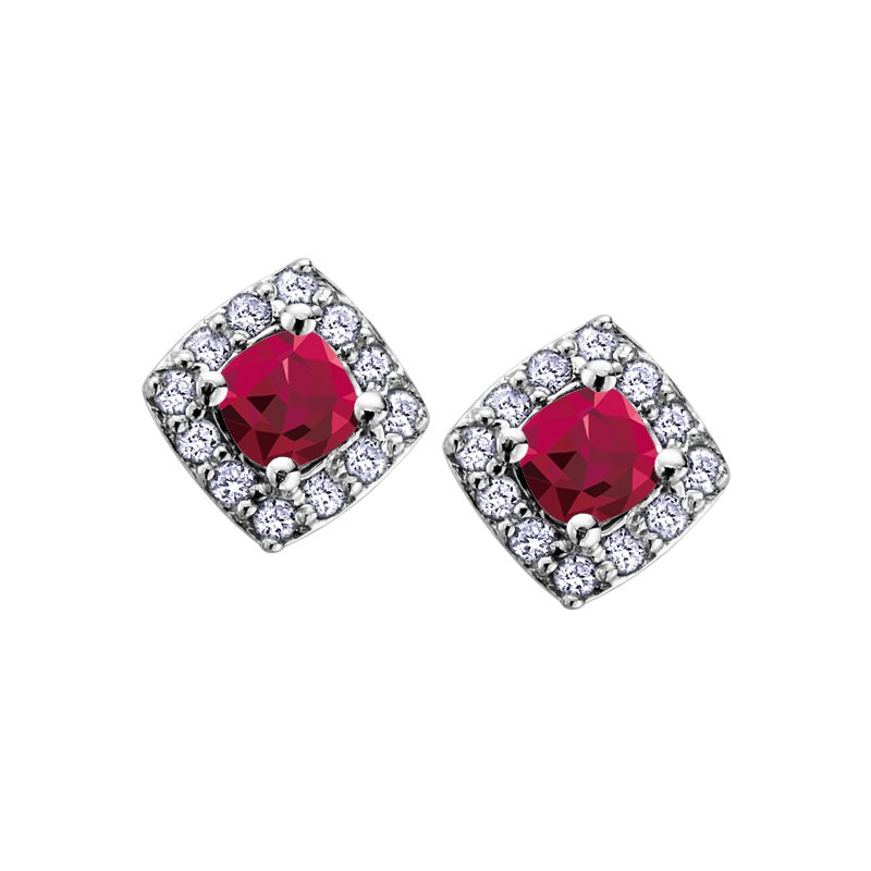 Corona Ruby Birthstone Earrings