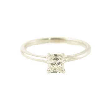 0.61CT Radiant Cut Diamond Solitaire Engagement Ring