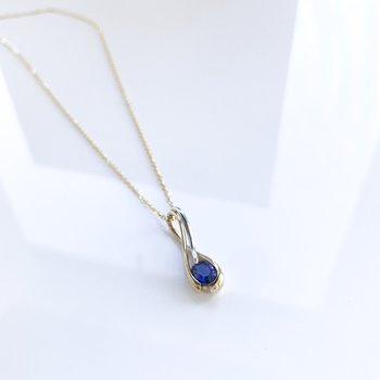 Yellow Gold Purple Sapphire Necklace