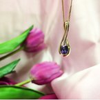 HJ Gemstone Collection Yellow Gold Purple Sapphire Necklace