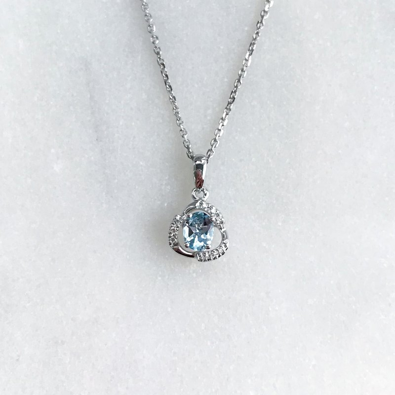 HJ Gemstone Collection White Gold Aquamarine Necklace