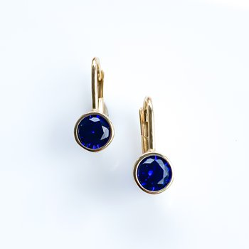 Synthetic Sapphire Yellow Gold Earrings