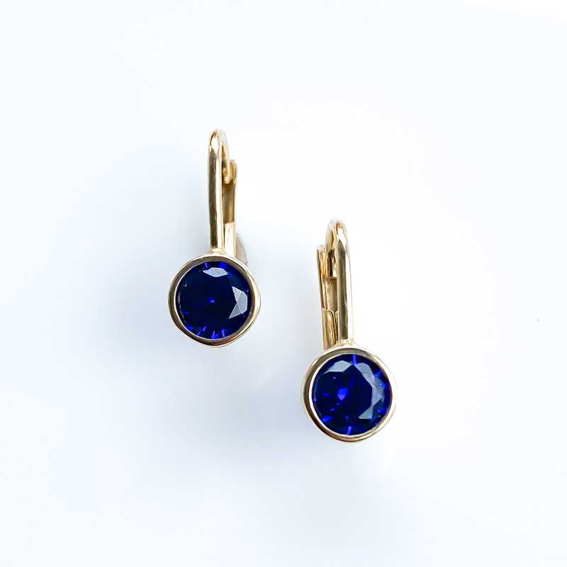 HJ Gemstone Collection Synthetic Sapphire Yellow Gold Earrings