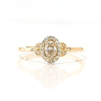 0.20CT Canadian Oval Shaped Halo Engagement Ring