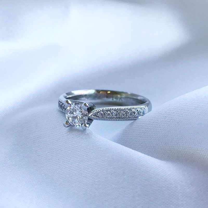 T & T Jewellers 0.36CT Side-Stone Solitaire Engagement Ring