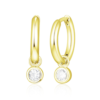 Gold Plated CZ Drop Hoop Earrings