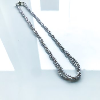 "Silver Three-Strand Keshii Pearl Necklace (16"")"