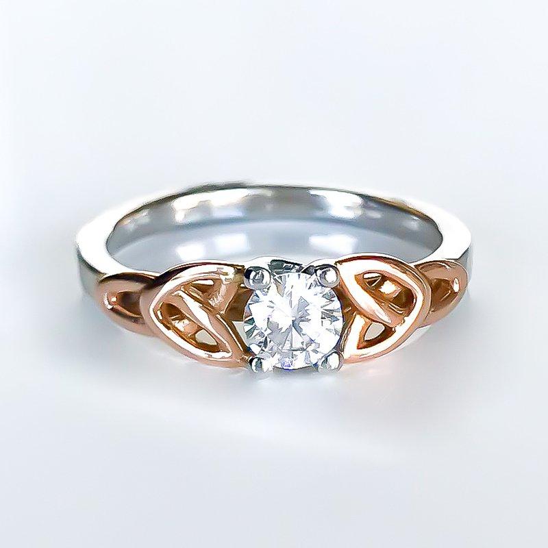 Keith Jack Gold Trinity Knot CZ Ring
