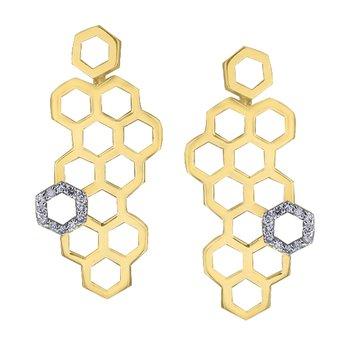 Yellow Gold Honeycomb Earrings