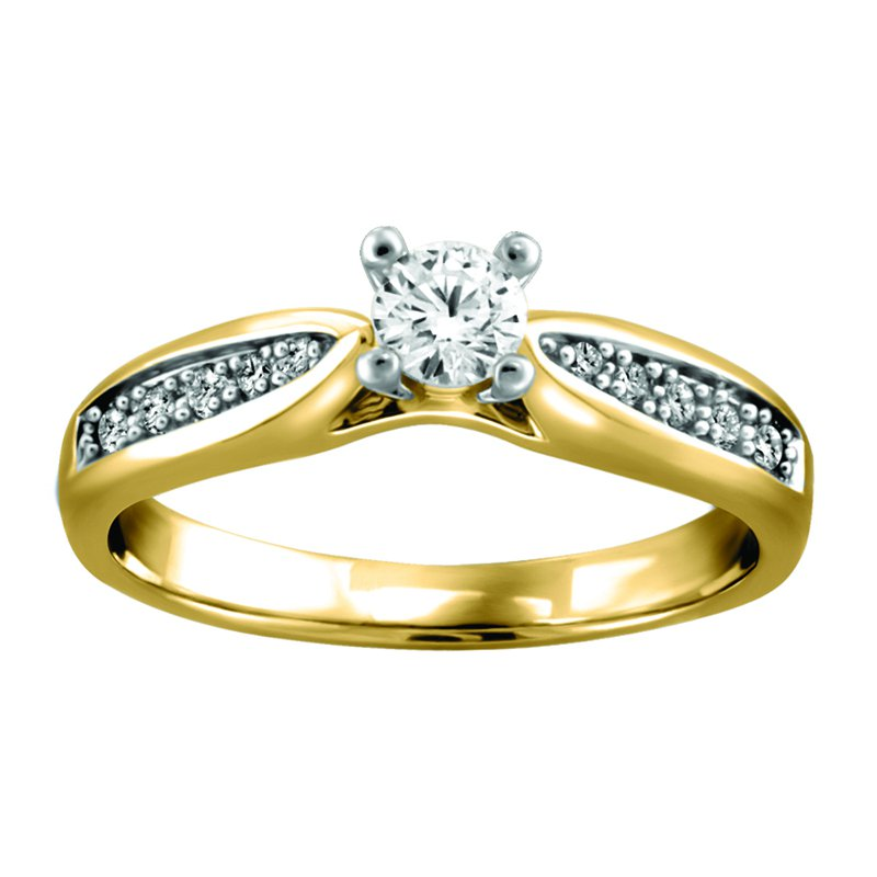 Forever Ice Side-Stone Solitaire Engagement Ring