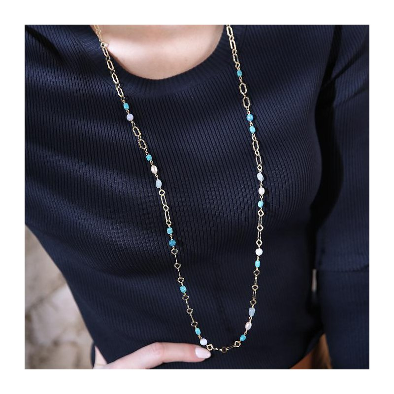 Etrusca Gioielli Turquoise & Pearl Long Necklace
