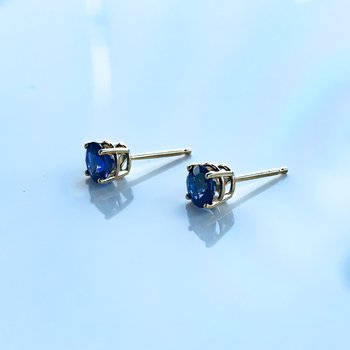 1.08CT TW Custom Yellow Gold Sapphire Earrings