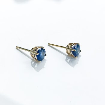 Custom Yellow Gold Sapphire Earrings