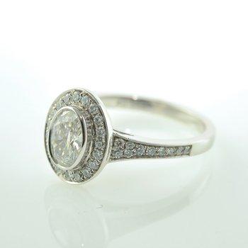 0.60CT Bezel Set Oval Shaped Halo Engagement Ring