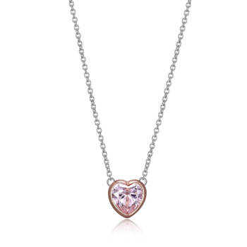 Pink Heart Cubic Zirconia Necklace