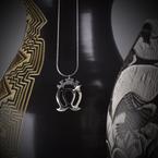 "Sapling & Flint Double Crowned Heart Necklace (20"")"