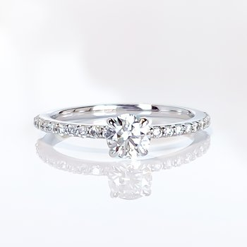 0.44CT Side-Stone Solitaire Engagement Ring