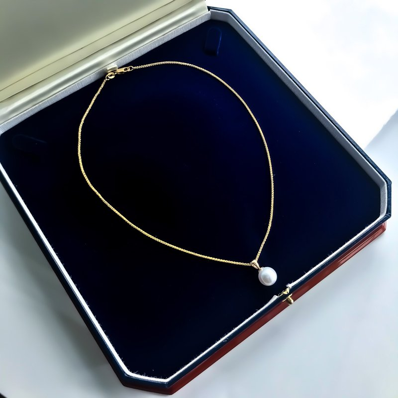 HJ Pearl Collection Yellow Gold South Sea Pearl Necklace (9.9mm)