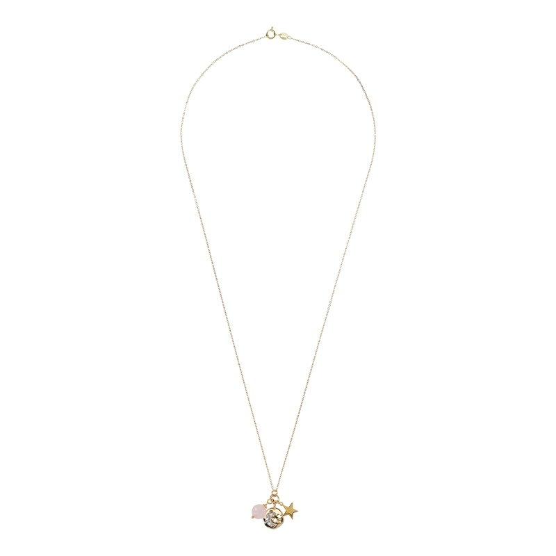 Etrusca Gioielli Rose Quartz Moon Charm Long Necklace