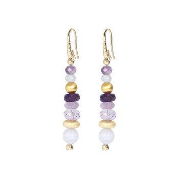 Amethyst & Blue Agate Drop Earrings