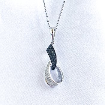 Black & White Pave Diamond Necklace
