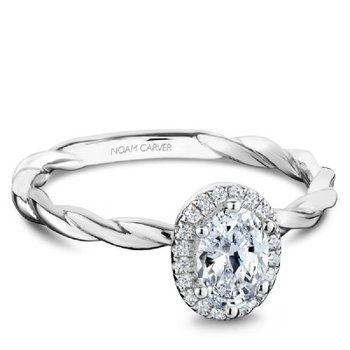0.50CT Oval Halo Engagement Ring