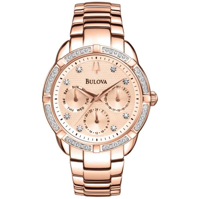 Bulova Rose Gold Diamond Dial Watch